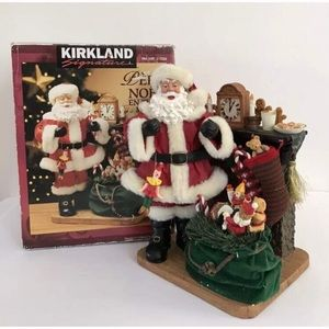 KIRKLAND Fabric Mache Santa Centerpiece in box